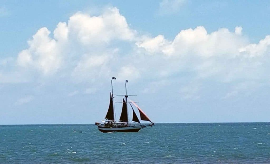 sailboat on the shores of the Fort Zachary Taylor Park in Key West, Florida