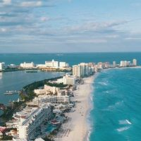 Aerial view of Cancun Mexico along the Mexican Caribbean