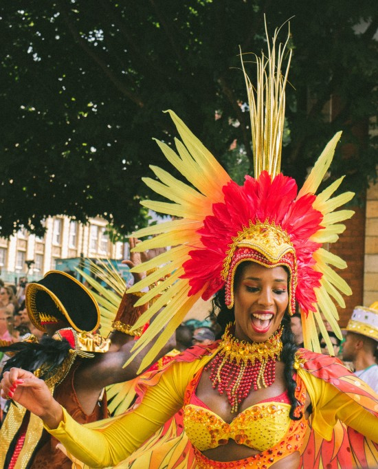 A woman in costume at the Carnival Parade in Aruba