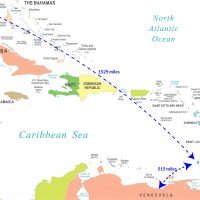 map showing distance from Miami to Grenada and Venezuela to Grenada