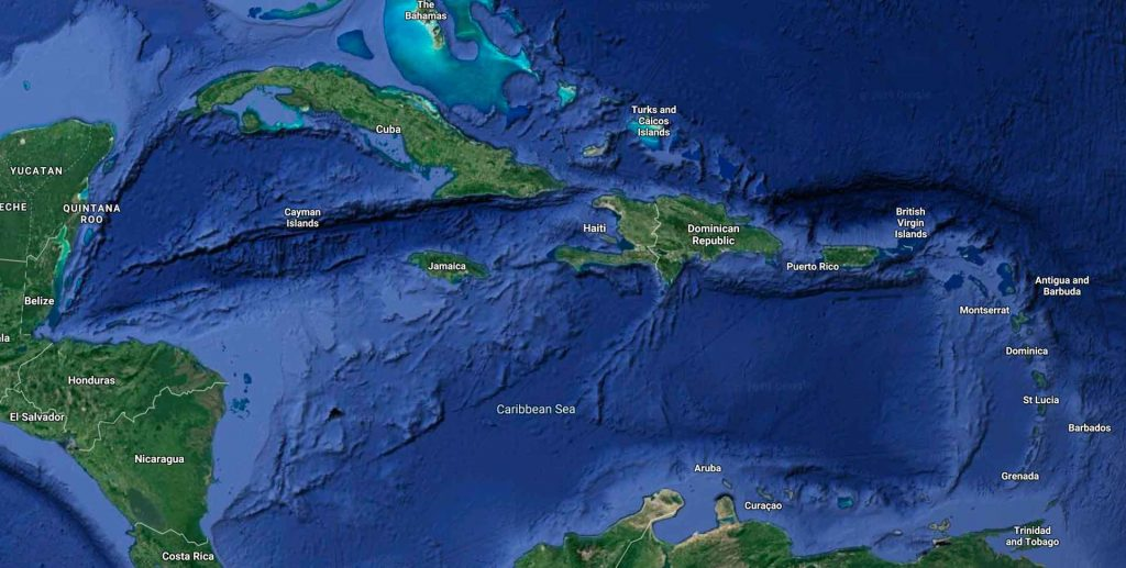 satellite map view of the Caribbean