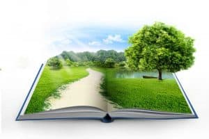 An opened book with grass and a tree popping out