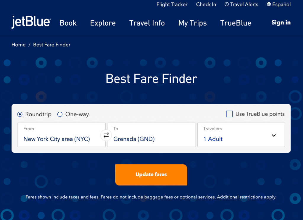 JetBlue airlines' best fare finder showing flights from New York to Grenada