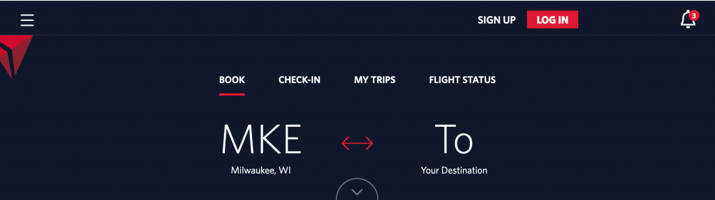 Delta Airlines's flexible date feature step 1