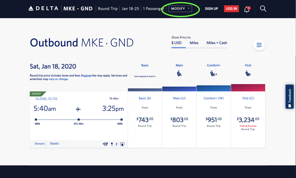 Delta Airlines's flexible date feature step 2