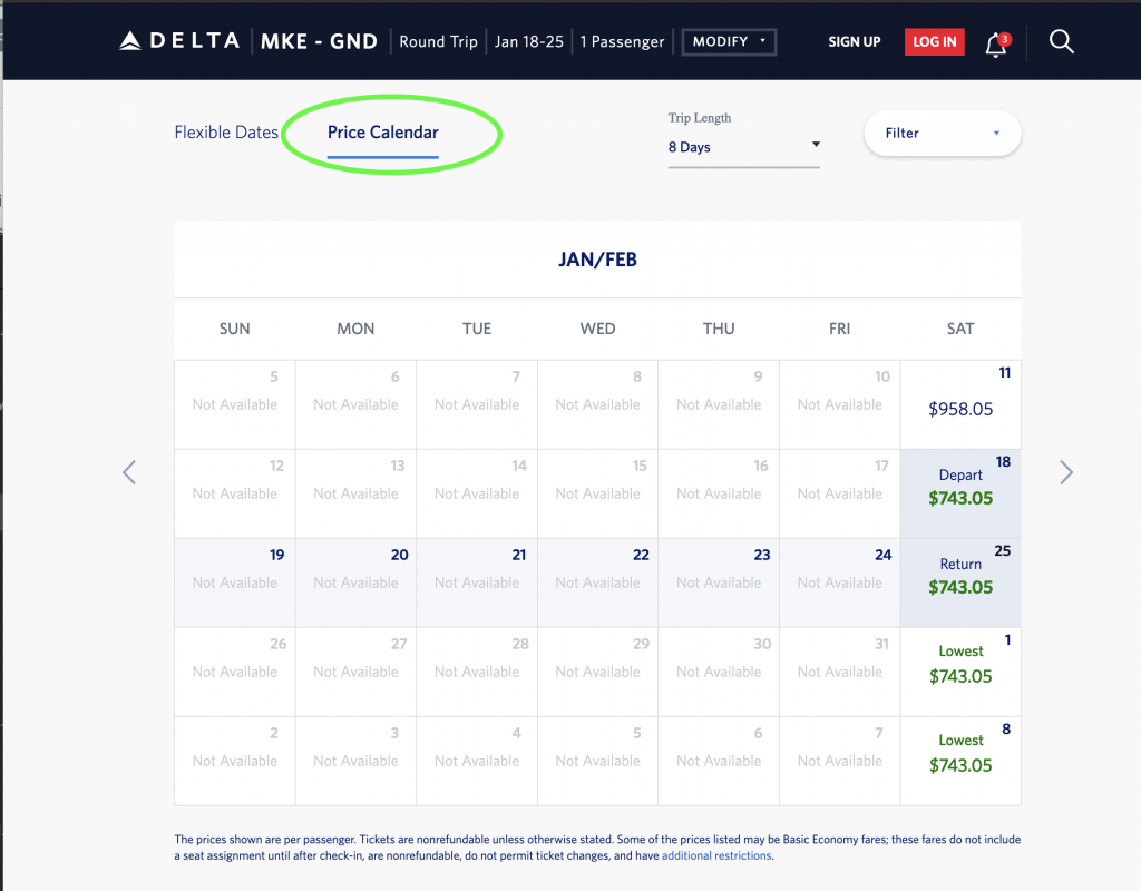 Delta Airlines's flexible date feature step 4