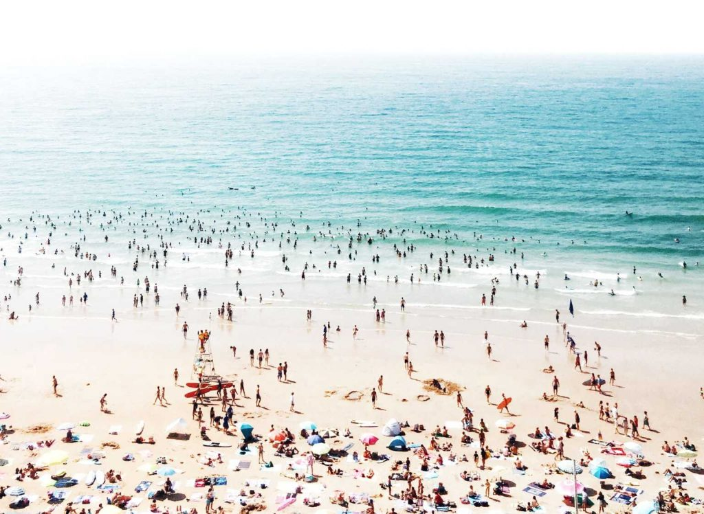 a very crowded beach