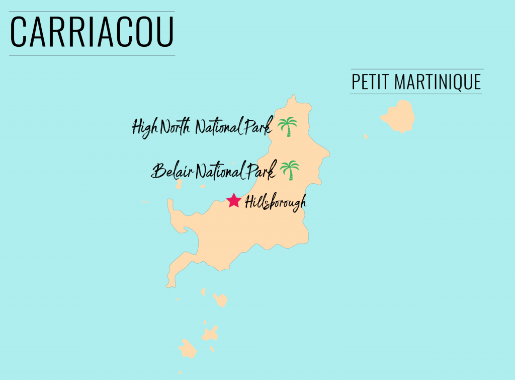 Map of national parks in Carriacou