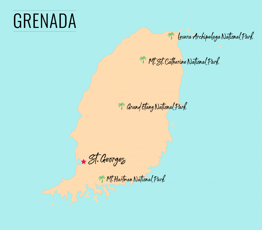 Map of national parks in Grenada