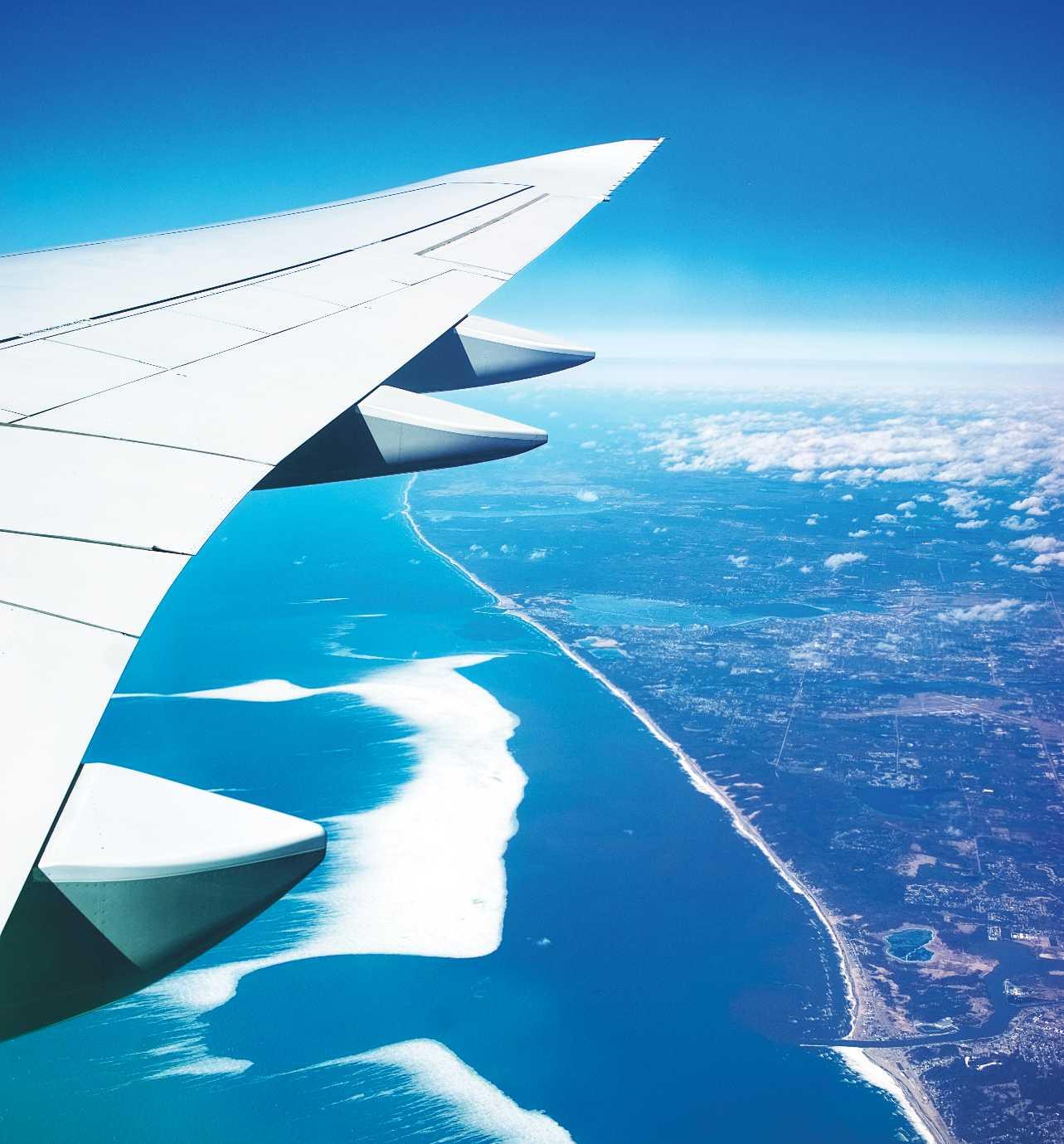jet flying over an ocean shoreline
