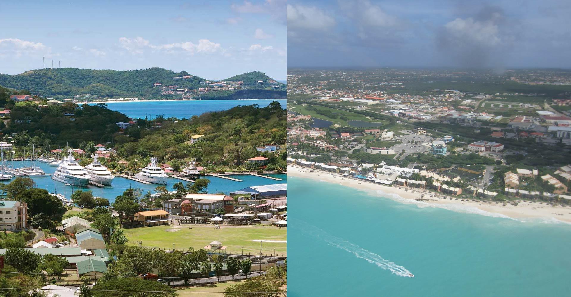 Grenada's landscape on the left and Aruba's landscape on the right