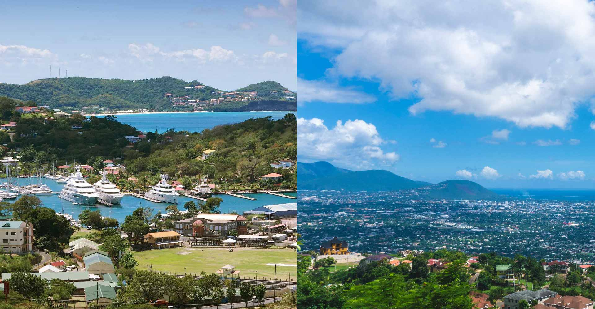 side by side photos of Grenada and Jamaica's landscape