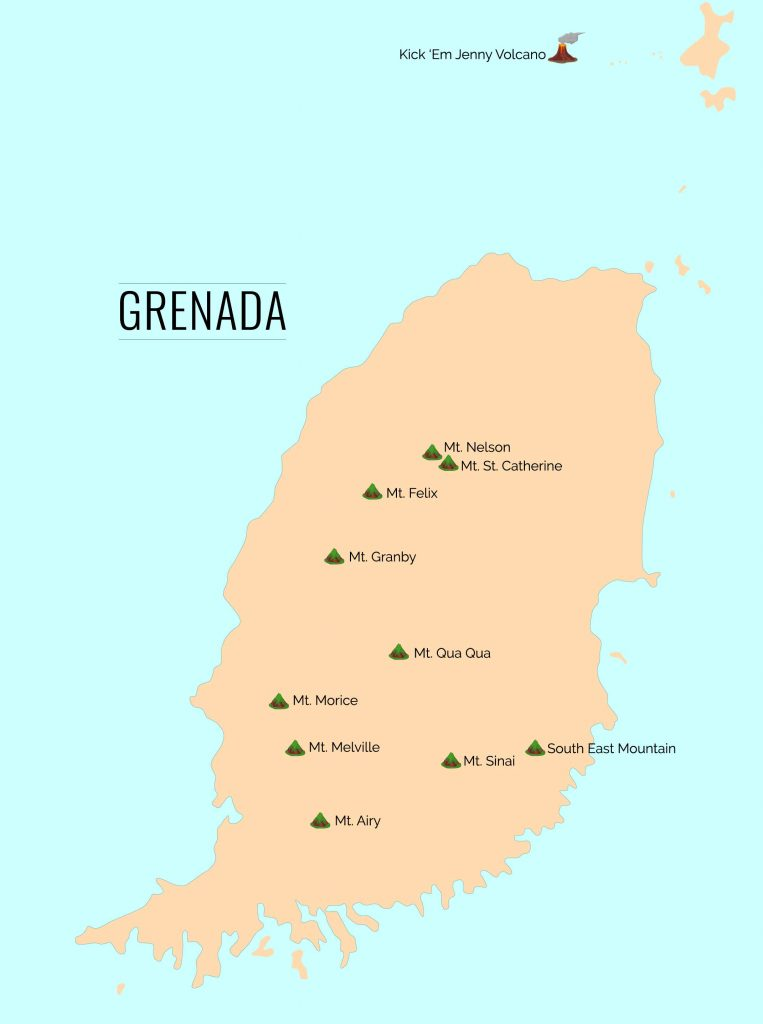 Map of the mountain ranges on Grenada