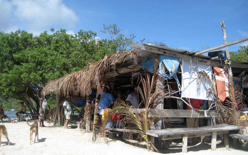 Roger's Barefoot Beach Bar on Hog Island in Grenada