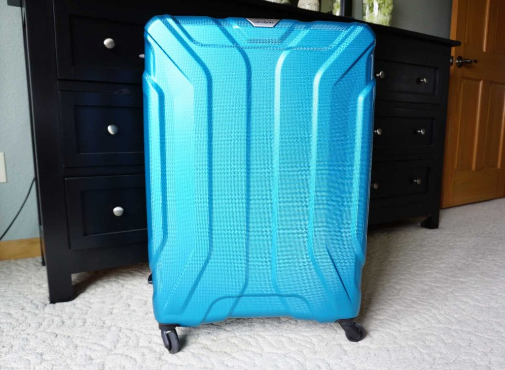 large blue suitcase