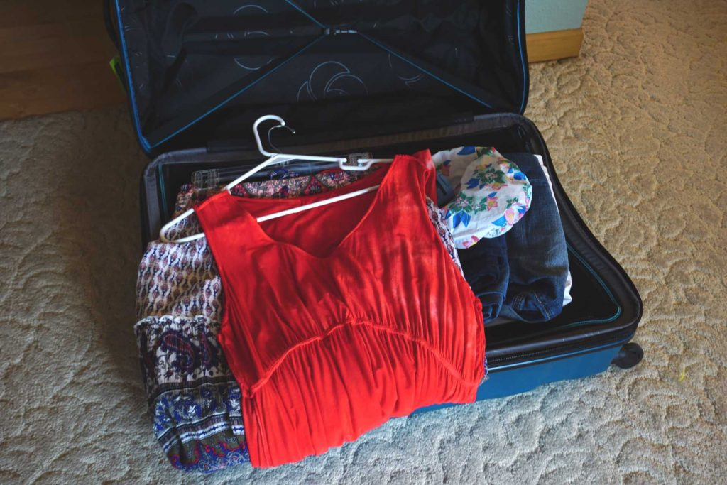 clothing added to suitcase
