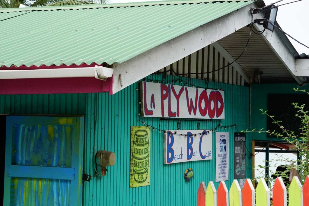 The back of La Plywood Bar and Cafe on Morne Rouge Beach in Grenada.