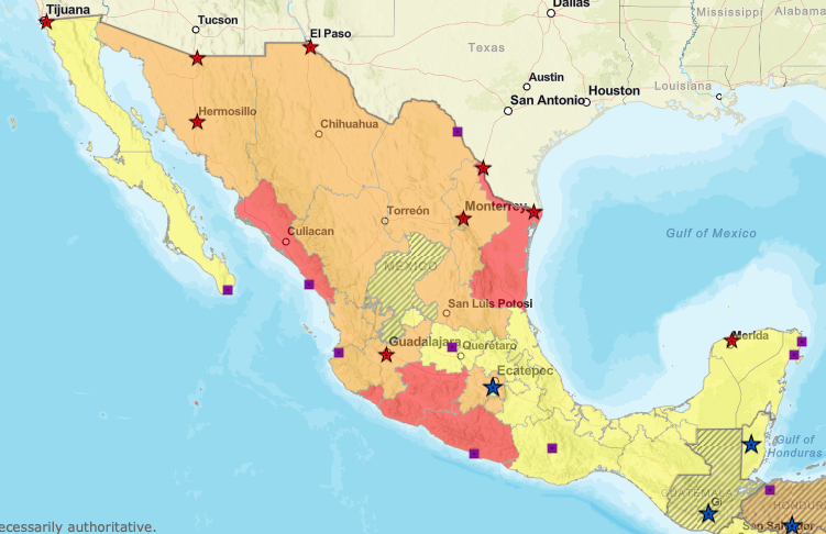 Department of State Travel Advisory Map of Mexico